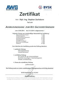 Zertifikat - Ausbildung zum Kfz-Sachverständigen