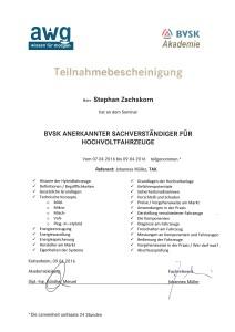 BVSK anerkannter Sachverständiger für Hochvoltfahrzeuge